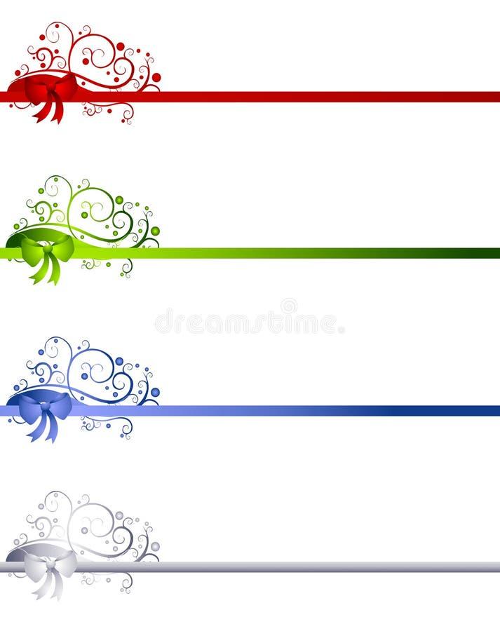 Fronteras decorativas de la cinta de la Navidad ilustración del vector