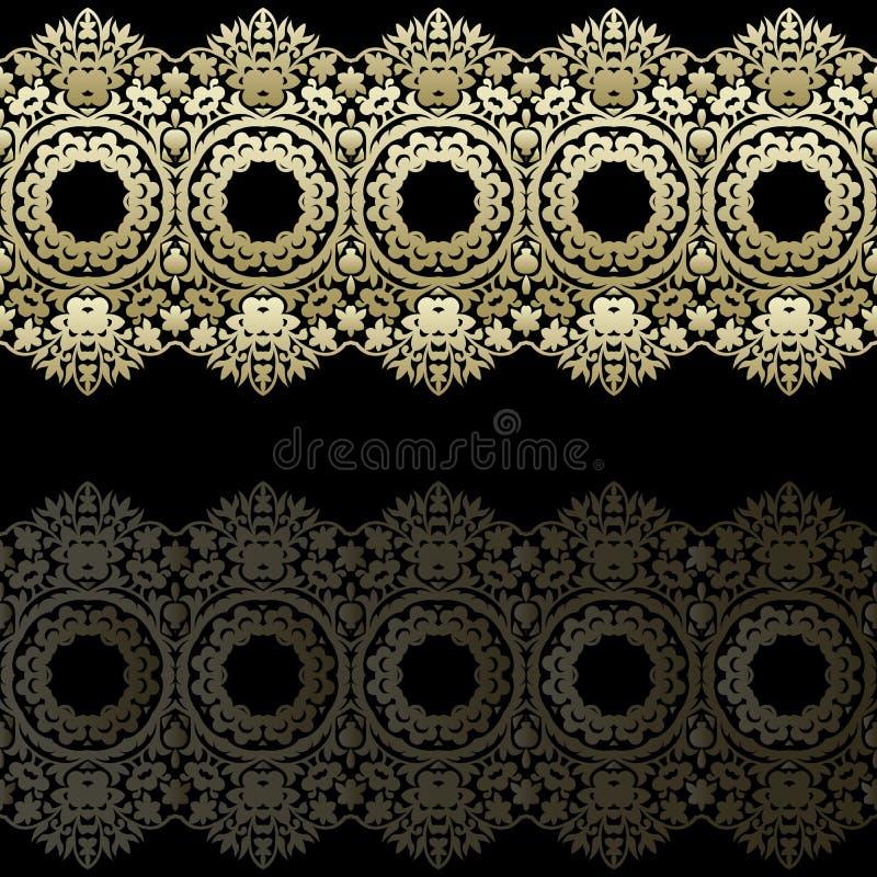 Fronteras del cordón del oro, líneas de papel ornamentales, vector Nombre del letrero Invitación romántica de la boda Abstraiga e libre illustration