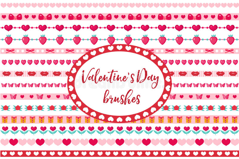 Fronteras del día de tarjetas del día de San Valentín fijadas Corazón lindo, ornamento de las flores Aislado en el fondo blanco ilustración del vector