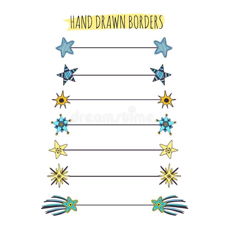 Fronteras del garabato de las estrellas fijadas Colección de los divisores del texto Elementos dibujados mano stock de ilustración