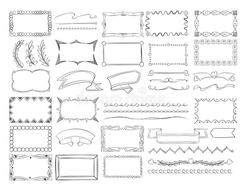 Fronteras del marco del garabato, banderas de la cinta y sistema dibujados mano del vector de los elementos de la decoración del  ilustración del vector