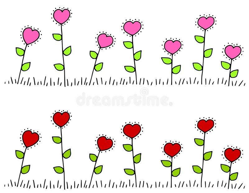 Fronteras en forma de corazón rosadas de la flor stock de ilustración