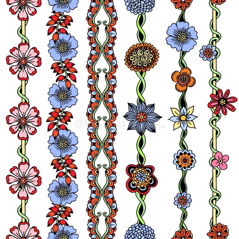 Fronteras florales fijadas ilustración del vector
