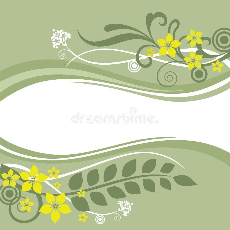 Fronteras florales verdes y amarillas stock de ilustración