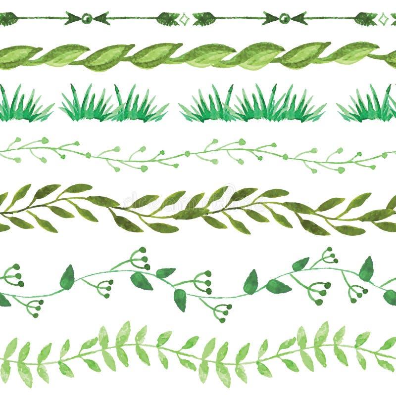 Fronteras inconsútiles de la acuarela fijadas Vendimia floral libre illustration