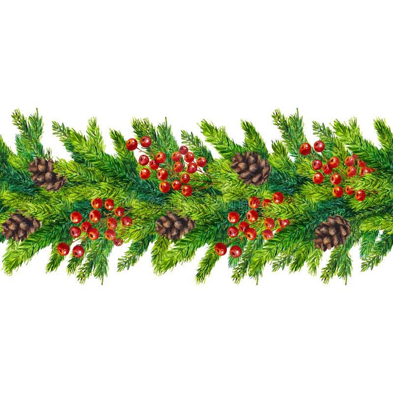 Fronteras inconsútiles de la Navidad de la acuarela de las ramas, de los conos y de las bayas del abeto ilustración del vector