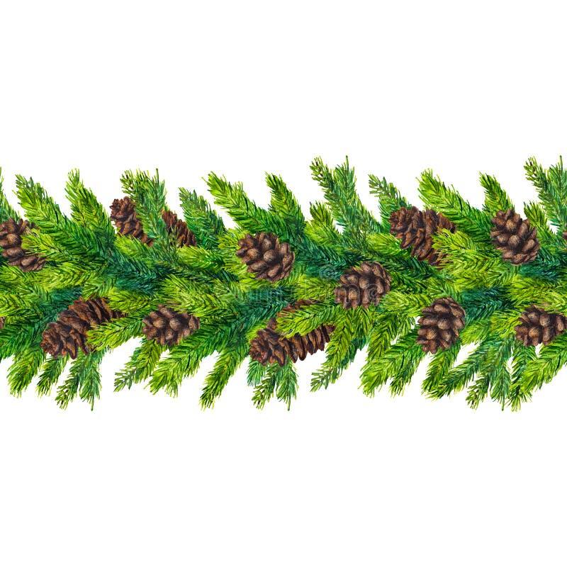 Fronteras inconsútiles de la Navidad de la acuarela de las ramas y de los pinecones del abeto stock de ilustración