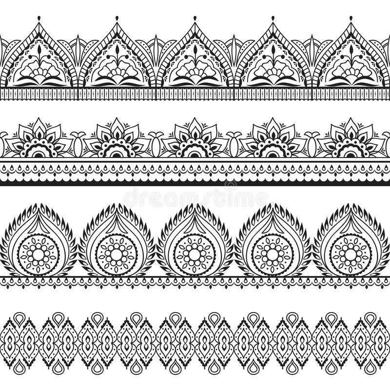 Fronteras inconsútiles de Mehndi Modelos de oriental de la alheña Marcos florales indios del vector ilustración del vector