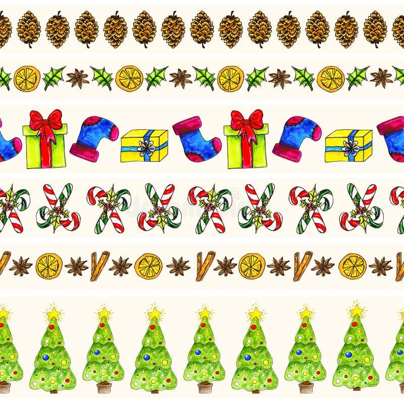 Fronteras inconsútiles del modelo de la Navidad de la acuarela fijadas libre illustration
