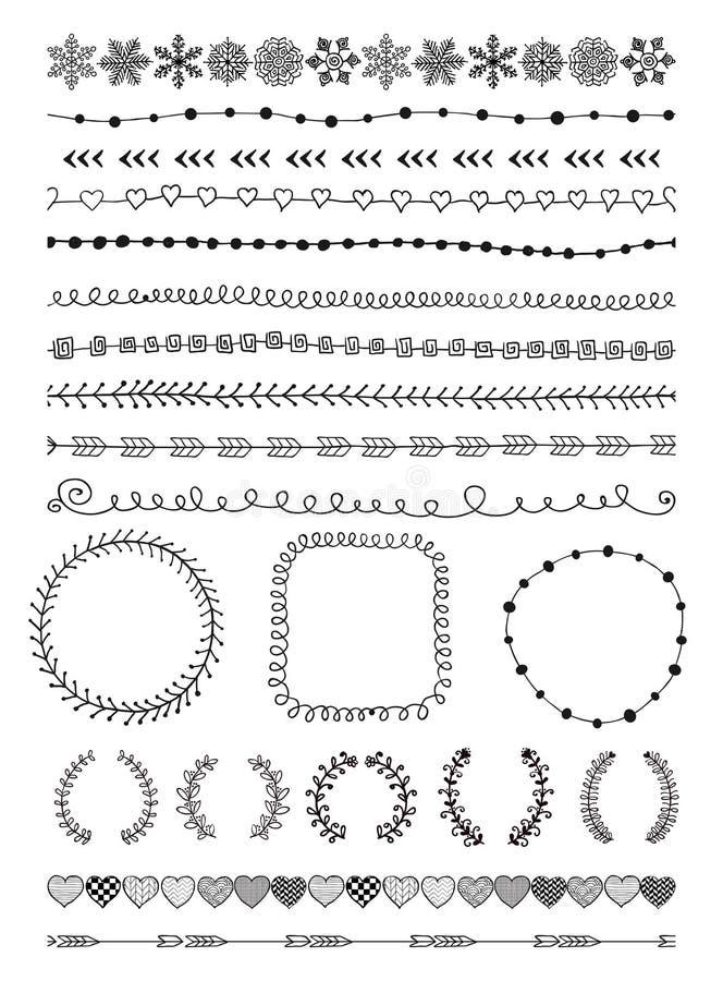 Fronteras inconsútiles a mano y elementos del diseño stock de ilustración