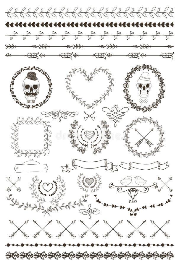 Fronteras inconsútiles a mano y elementos del diseño ilustración del vector