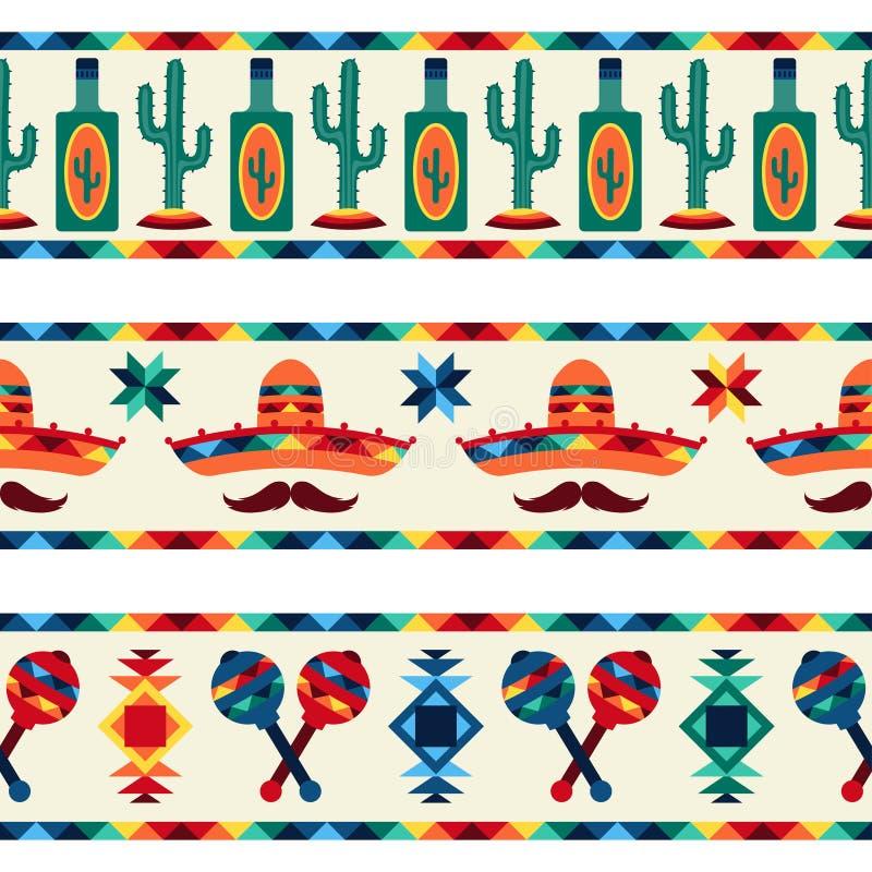Fronteras inconsútiles mexicanas con los iconos en natural stock de ilustración