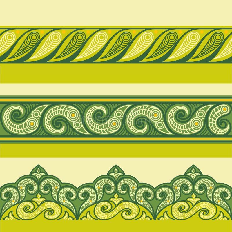 Fronteras inconsútiles ornamentales de la alheña Estilo de Mehndi Fronteras florales del verde-color, modelo inconsútil gorizonta ilustración del vector