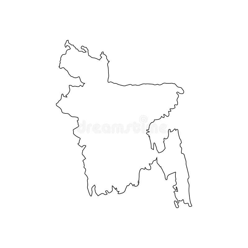 Fronteras nacionales del mapa del esquema de Bangladesh libre illustration