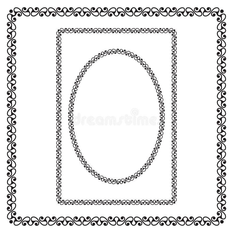 Fronteras negras de la ronda, rectangulares y cuadradas libre illustration