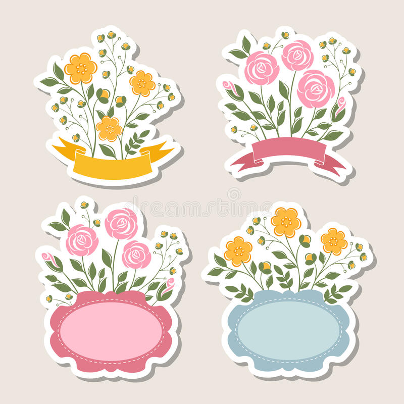 Fronteras románticas florales fijadas libre illustration