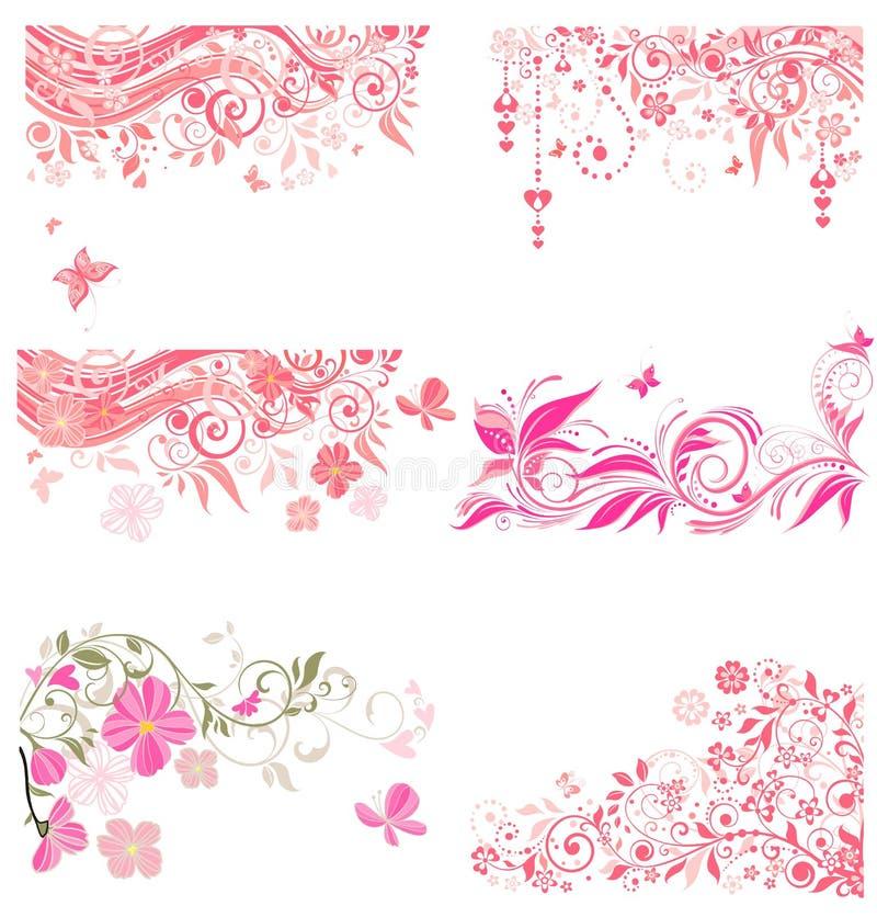 Fronteras rosadas decorativas stock de ilustración