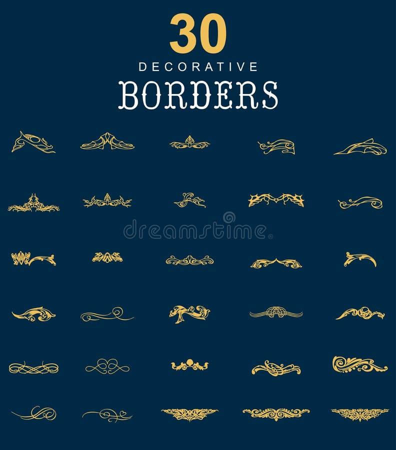 Fronteras y divisores decorativos stock de ilustración