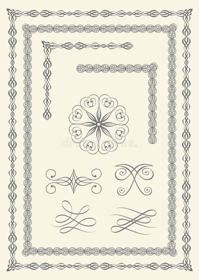 Fronteras y emblemas stock de ilustración