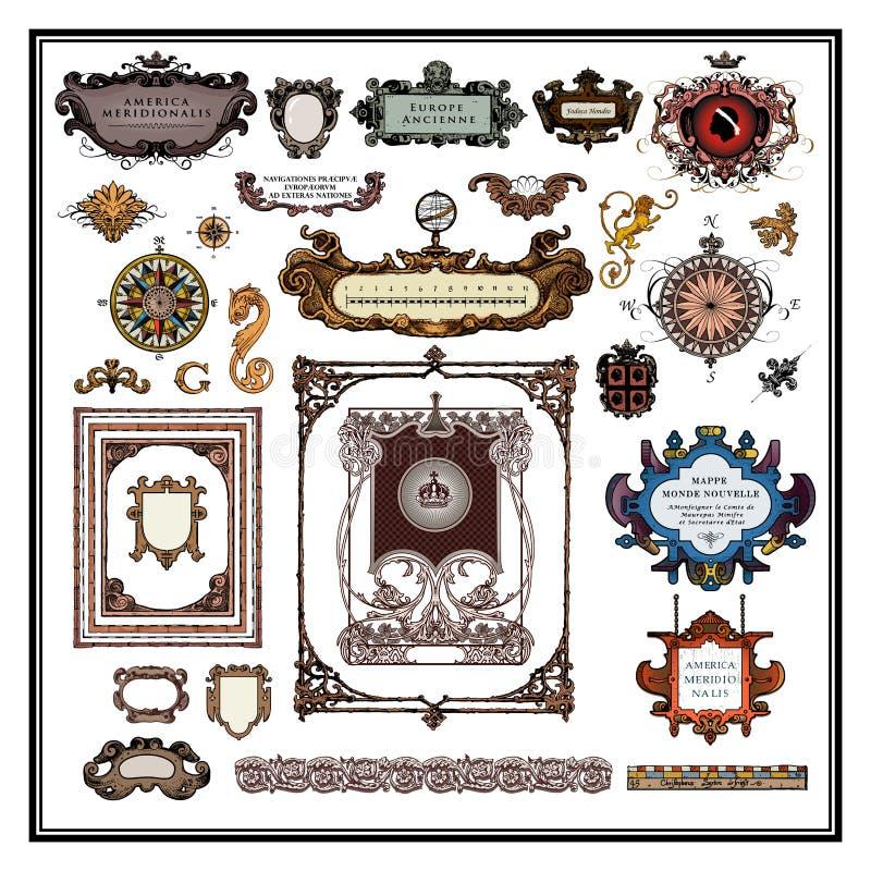 Fronteras y marcos antiguos de los elementos del mapa ilustración del vector