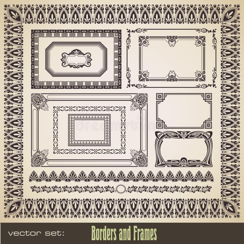 Fronteras y marcos fijados stock de ilustración