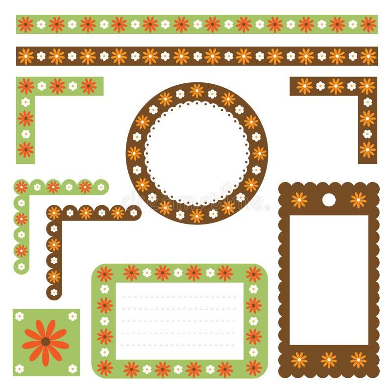 Fronteras y marcos florales stock de ilustración