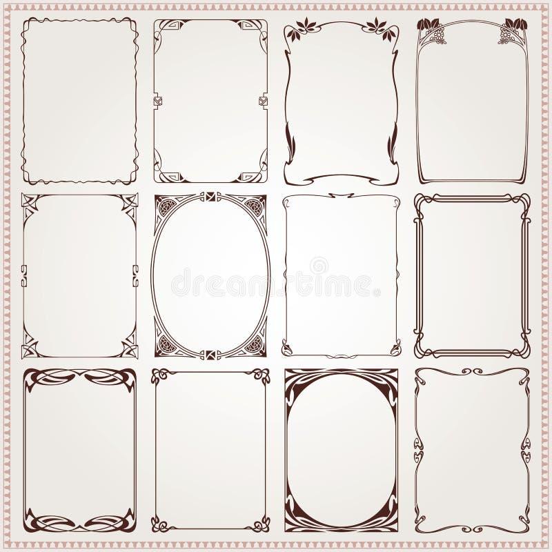 Fronteras y vector decorativos del estilo de Art Nouveau de los marcos stock de ilustración
