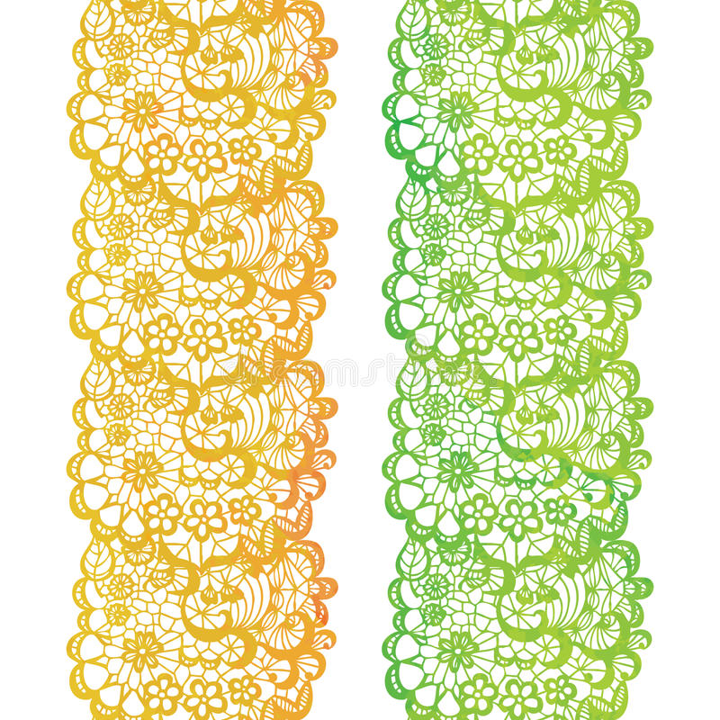 Frontière élégante de dentelle d'aquarelle Équilibre de dentelle de vintage illustration stock