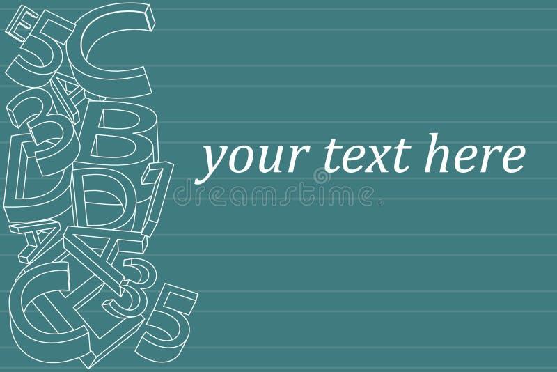 Frontière abstraite d'ornement de l'alphabet 3D Concept de livre pour l'école Votre texte ici Vecteur illustration libre de droits