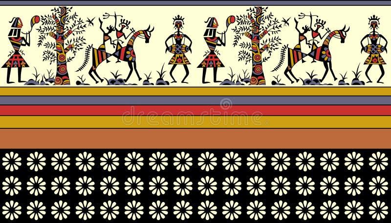 Frontière africaine colorée illustration stock