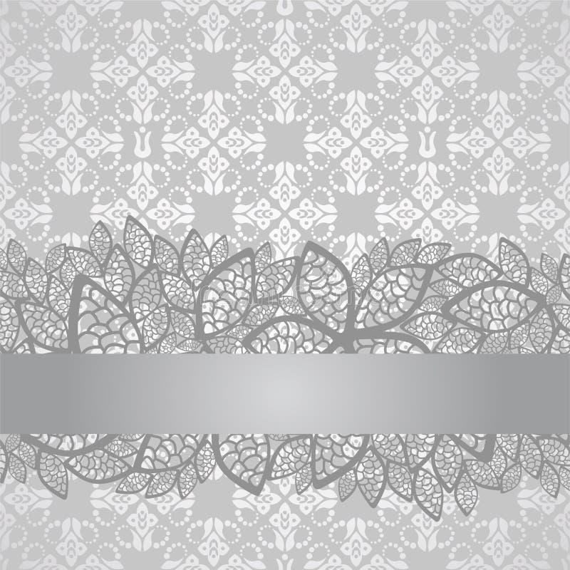 Frontière argentée de dentelle sur le papier peint argenté floral illustration libre de droits