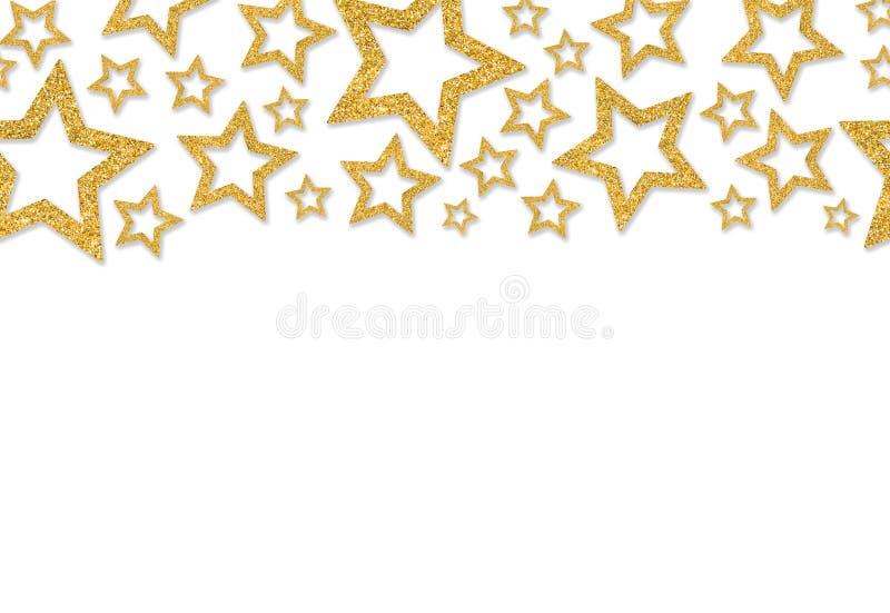 Frontière avec des étoiles d'or des confettis de paillette Poudre de scintillement miroitant photo stock