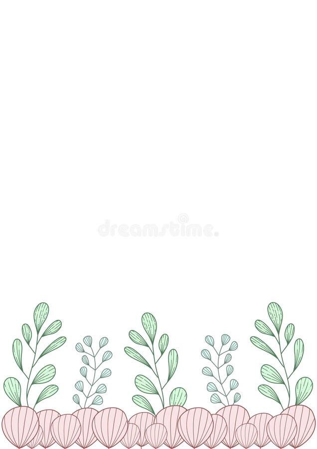 Frontière avec les branches abstraites tirées par la main vertes et bleues et les pétales roses illustration stock