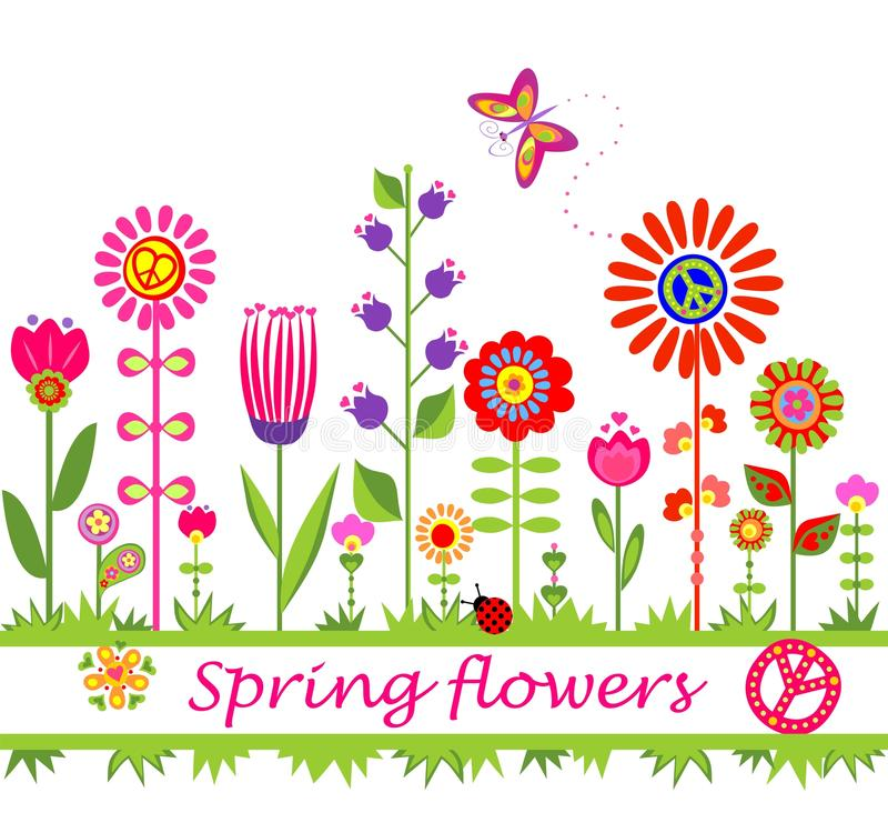 Frontière avec les fleurs hippies colorées abstraites illustration stock