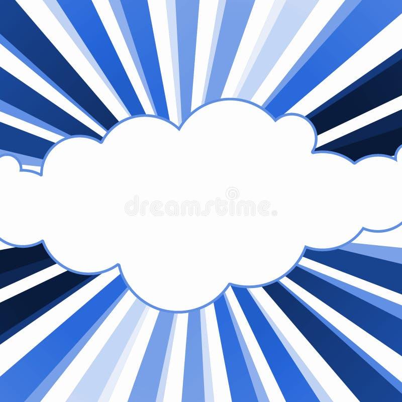 Frontière bleue de cadre de rayons de nuage illustration stock