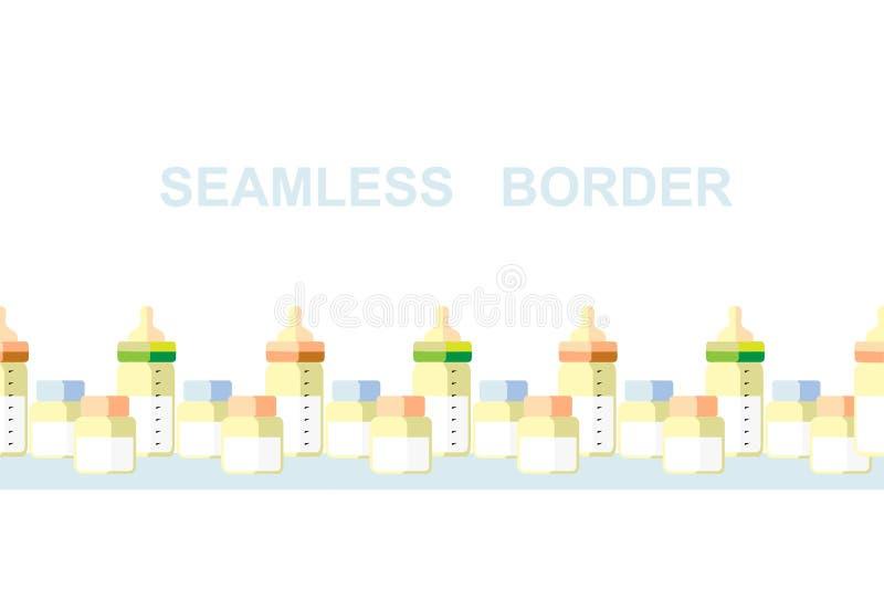 Frontière, bouteilles à lait et banques sans couture, Nutrilion de nouveau-né illustration libre de droits