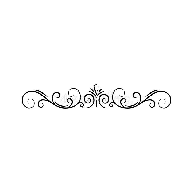 Frontière calligraphique, décoration de page Remous, rouleau en filigrane Élément de conception Vecteur illustration libre de droits