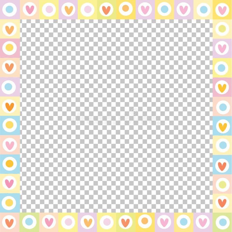Frontière carrée d'amour de vecteur mignon faite de coeurs de griffonnage dans des couleurs en pastel d'isolement illustration stock