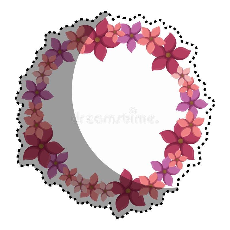 Frontière circulaire colorée d'autocollant avec des fleurs illustration libre de droits