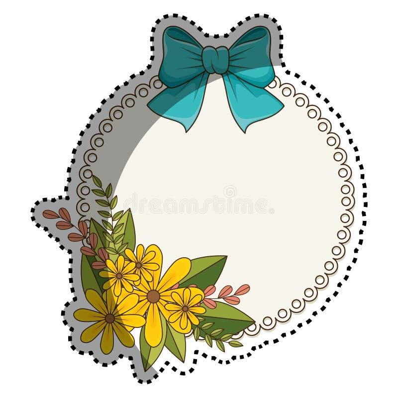 Frontière circulaire d'autocollant avec le bouquet floral et le ruban bleu illustration libre de droits