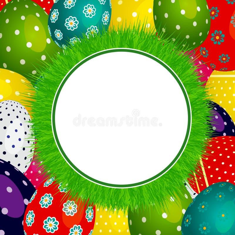 Frontière circulaire d'herbe de Pâques sur les oeufs décorés illustration libre de droits