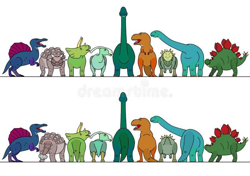 Frontière colorée de dinosaure illustration stock