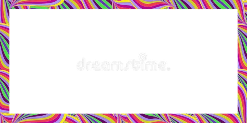 Frontière colorée lumineuse de rectangle Modèle d'été avec les vagues ou les feuilles abstraites illustration stock