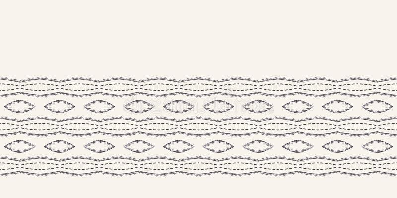 Frontière décorative de broderie de point courant Modèle victorien de couture de diamant Ruban ornemental tiré par la main de tex illustration libre de droits