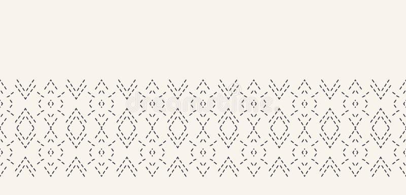 Frontière décorative de broderie de point courant Modèle victorien de couture de diamant Ruban ornemental tiré par la main de tex illustration de vecteur