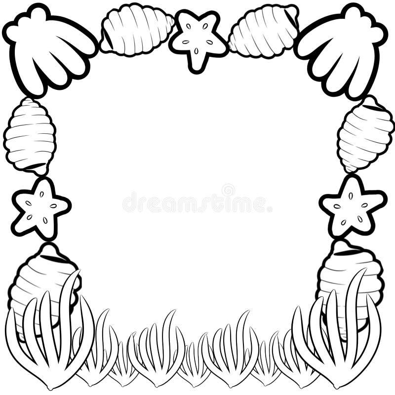 Frontière décorative de cadre avec des coquilles de mer illustration de vecteur