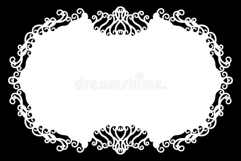 Frontière décorative florale de photo/bord noirs et blancs Le type texte à l'intérieur, emploient comme recouvrement ou pour le m illustration stock