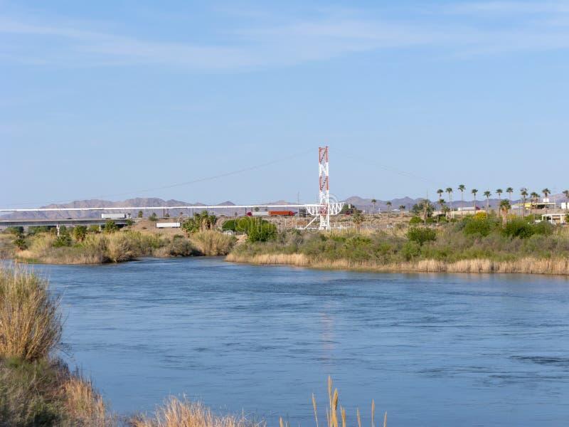 Frontière d'état de l'Arizona et de la Californie photographie stock libre de droits