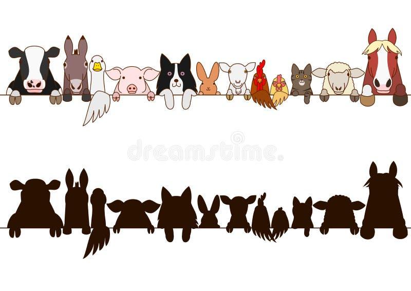 Frontière d'animaux de ferme réglée avec la silhouette illustration stock