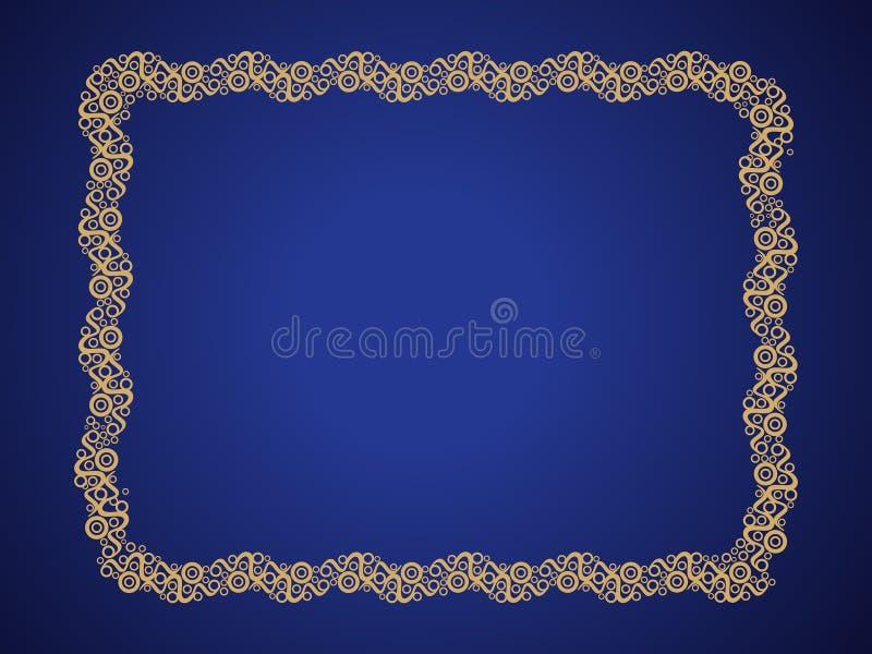 Frontière d'or créative artistique de résumé avec le fond bleu illustration libre de droits